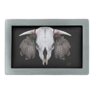 Cow skull and Grouse feathers Belt Buckle