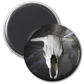 COW SKULL AND LIGHTNING MAGNET