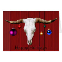 Cow Skull Christmas Ornaments Red Barn Happy Hol Card
