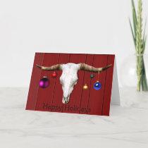Cow Skull Christmas Ornaments Red Barn Happy Hol Holiday Card