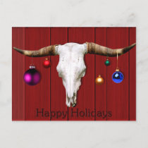 Cow Skull Christmas Ornaments Red Barn Happy Hol Holiday Postcard