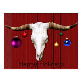 Cow Skull Christmas Ornaments Red Barn Happy Hol Post Card