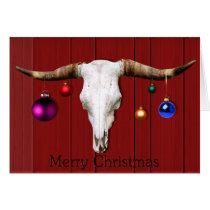 Cow Skull Christmas Ornaments Red Barn Merry Xmas Card