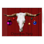 Cow Skull Christmas Ornaments Red Barn Xmas Party Card
