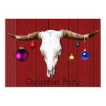 Cow Skull Christmas Ornaments Red Barn Xmas Party Custom Invitations