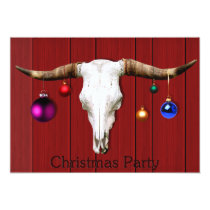 Cow Skull Christmas Ornaments Red Barn Xmas Party Invitation