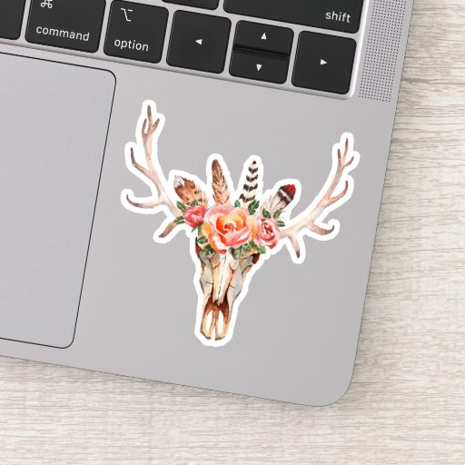 Cow Skull Country Cottage Laptop Cutout Vinyl Sticker