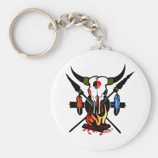Cow Skull Fire Basic Round Button Keychain