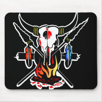Cow Skull Fire Black Mouse Pad