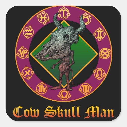 Cow Skull Man 正方形シール・ステッカー