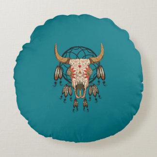 Cow Skull Southwestern Dream Catcher Round Pillow