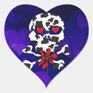 Cow Skull Valentine Heart Sticker