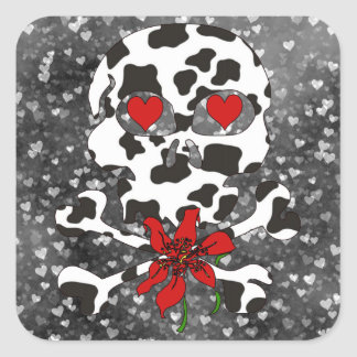 Cow Skull Valentine Square Sticker