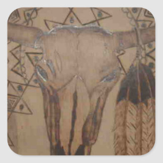 COW SKULL WB.PNG Cow Skull Wood Burning Square Sticker