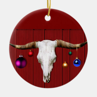 Cow Skull with Christmas Ornaments on Red Barn