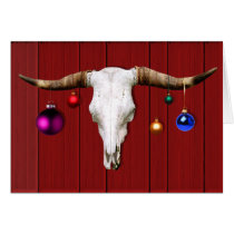 Cow Skull with Christmas Ornaments on Red Barn Card