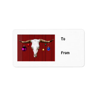 Cow Skull with Christmas Ornaments on Red Barn Personalized Address Label
