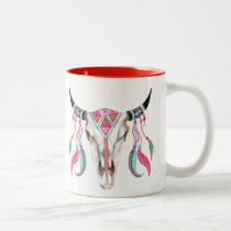 Cow Skull with Dream Catchers Two-Tone Coffee Mug