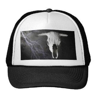 COW SKULL WITH LIGHTNING TRUCKER HAT