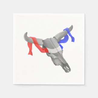 Cow Skull With Patriotic Ribbon Paper Napkin