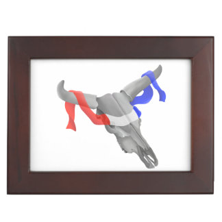 Cow Skull With Red White Blue Ribbon Memory Box