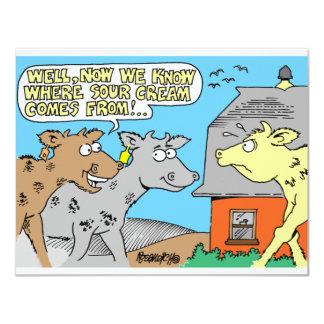 COW / SOUR CREAM HUMOR CARTOON CARD