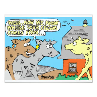 COW / SOUR CREAM HUMOR CARTOON PERSONALIZED ANNOUNCEMENTS