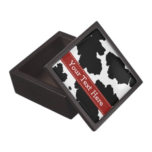 Cow Spot Print Gift Box Red Ribbon Premium Jewelry Boxes
