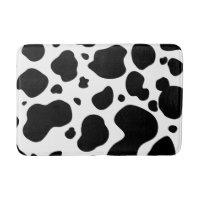 Cow Spots Pattern Black and White Animal Print Bathroom Mat