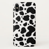 Cow Spots Pattern Black and White Animal Print iPhone X Case