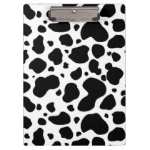 Cow Spots Pattern Black and White Animal Print Clipboard