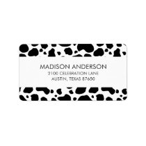 Cow Spots Pattern Black and White Animal Print Label