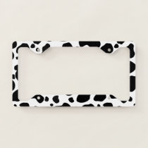Cow Spots Pattern Black and White Animal Print License Plate Frame