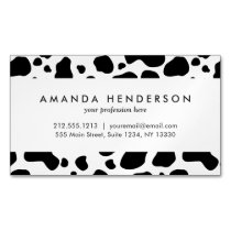 Cow Spots Pattern Black and White Animal Print Magnetic Business Card