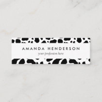 Cow Spots Pattern Black and White Animal Print Mini Business Card