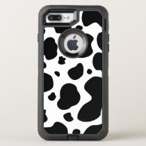 Cow Spots Pattern Black and White Animal Print OtterBox Defender iPhone 8 Plus/7 Plus Case