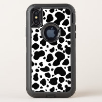 Cow Spots Pattern Black and White Animal Print OtterBox Defender iPhone X Case