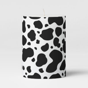 Cow Spots Pattern Black And White Animal Print Pillar Candle