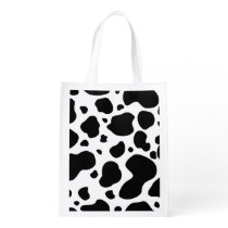 Cow Spots Pattern Black and White Animal Print Reusable Grocery Bag