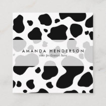 Cow Spots Pattern Black and White Animal Print Square Business Card