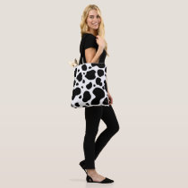 Cow Spots Pattern Black and White Animal Print Tote Bag