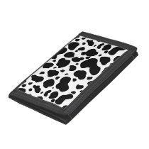 Cow Spots Pattern Black and White Animal Print Tri-fold Wallet