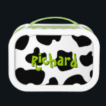 """Cow spots pattern lunchbox   Cute animal print<br><div class=""""desc"""">Cow spots pattern lunchbox   Cute farm animal print. Funny gift idea for little cowboys,  cowgirls and cow lovers. Personalizable cowhide design with kids name. Blochy black and white cow hide design.</div>"""