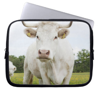 Cow standing in grassy field laptop sleeve