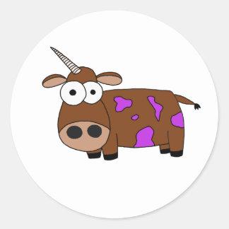 cow round sticker