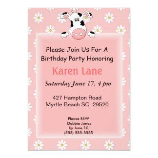 Cow Theme Kids Birthday Invitation