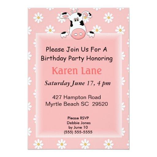 "Cow Theme Kids Birthday Invitation 5"" X 7"" Invitation Card   Zazzle"
