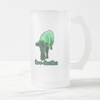 Cow-thulhu Frosted Glass Beer Mug