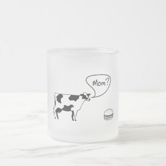 Cow to Burger Frosted Glass Coffee Mug