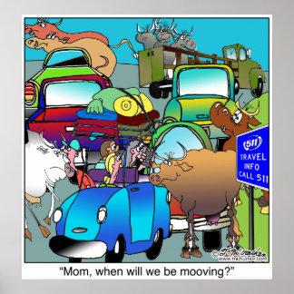 Cow Traffic Mooooving Poster
